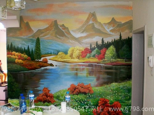 该手绘墙图案清新淡雅,意境悠远!