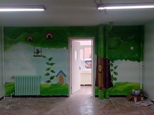 国仕教育学前班幼儿园手绘墙作品
