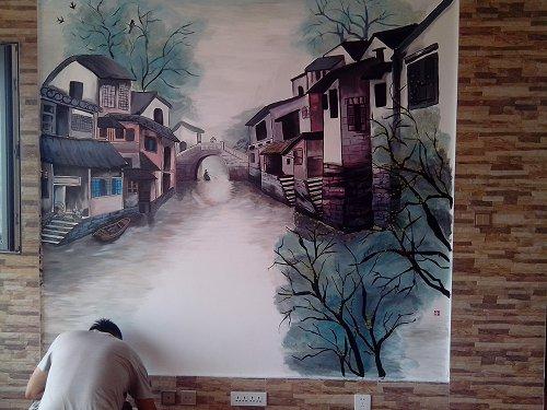 电视背景墙水墨风格手绘墙作品