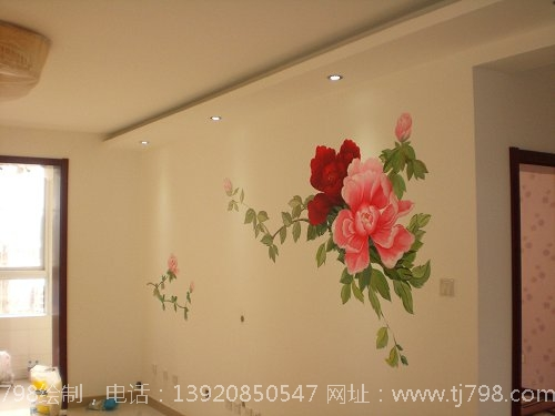 国色天香——牡丹手绘墙