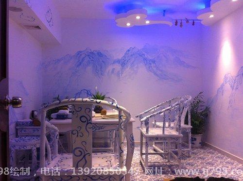 青花瓷风格茶室手绘墙作品